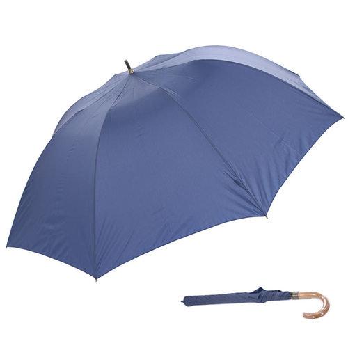 持ち運びは小さく、広げると大きく使えるショートワイド傘 無地・木製ハンドル(80cm)