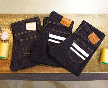 桃太郎ジーンズ ももたろう 伝統の技と現在の最新技術を用い、デニム生地を始めとしたテキスタイルから、ジーンズ・藍染め製品まで幅広く展開