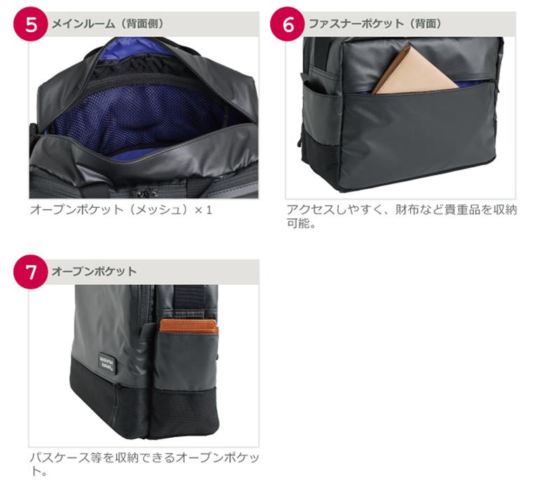 メインルーム(背面側)。ファスナーポケット(背面)。アクセスしやすく、財布など貴重品を収納可能。オープンポケット。パスケース等を収納できるオーpンポケット。