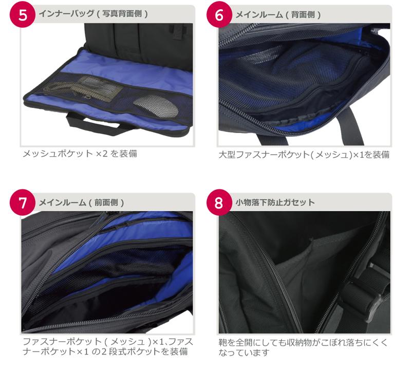 インナーバッグ(写真背面側)。メインルーム(背面側)。メインルーム(前面側)。小物落下防止ガセット。