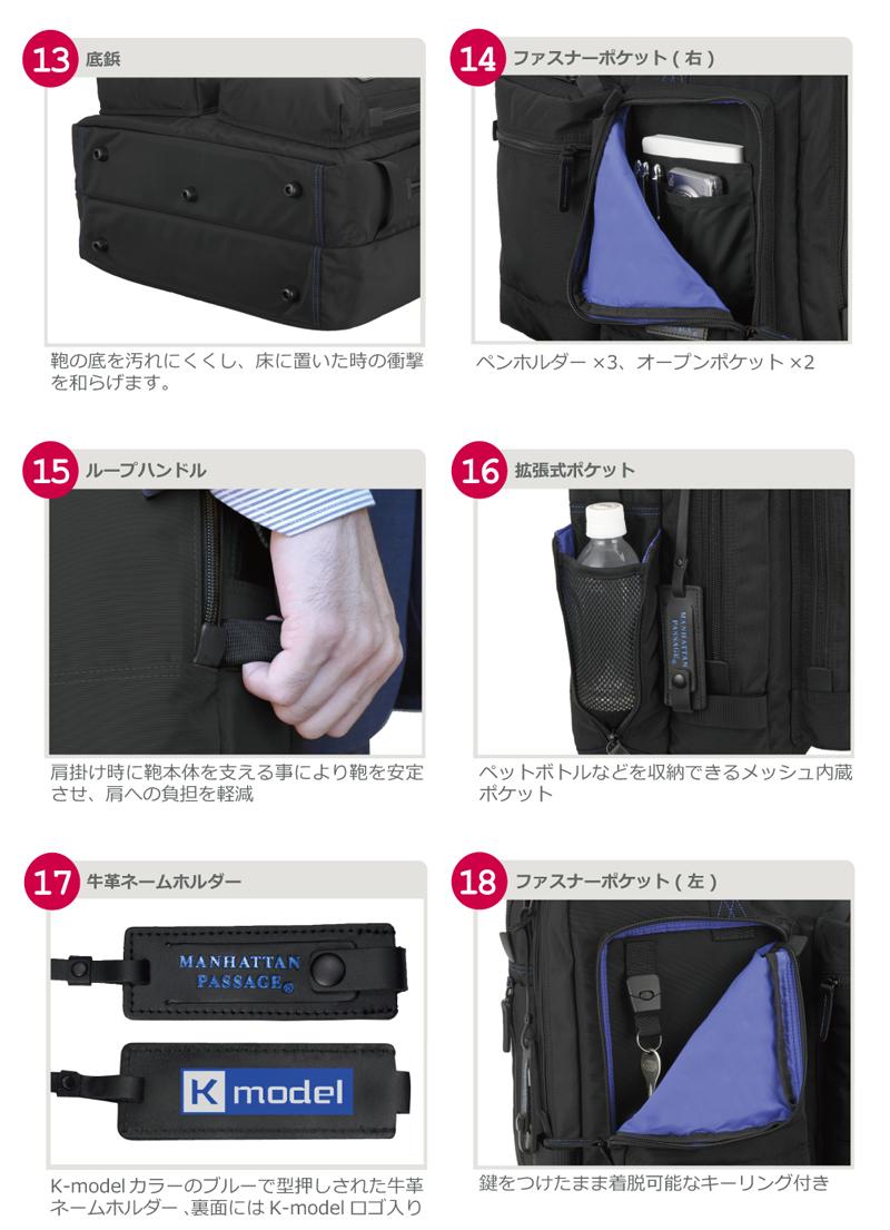 底鋲。ファスナーポケット(右)。ループハンドル。拡張式ポケット。牛革ネームホルダー。ファスナーポケット(左)