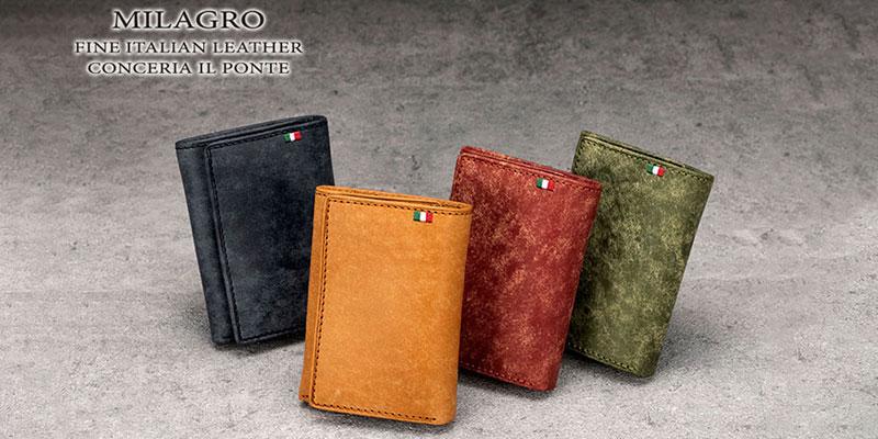 ビスポーク ミラグロ イタリアンヌバック三つ折り財布