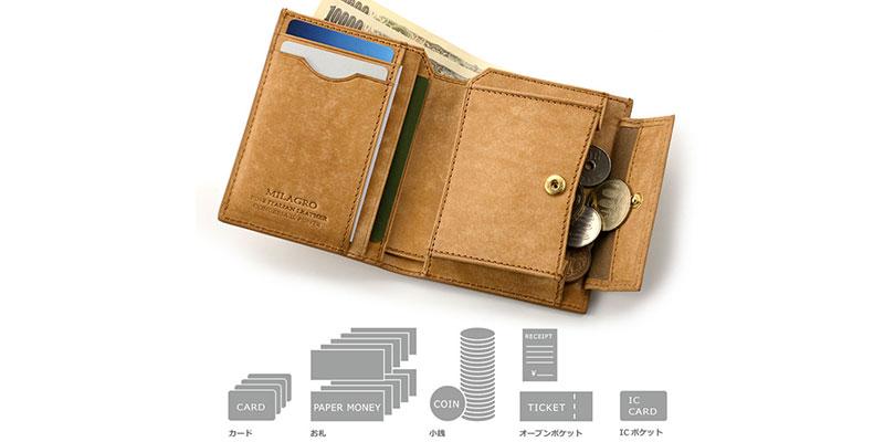 ポケットに入れやすいコンパクトサイズの2つ折り財布