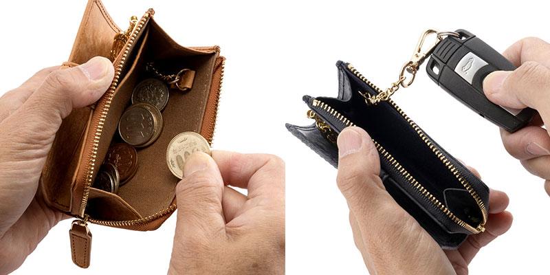 小銭やお札はもちろんスマートキー用リングがついて車でのお出かけにも持っていけるマルチキーケースにも