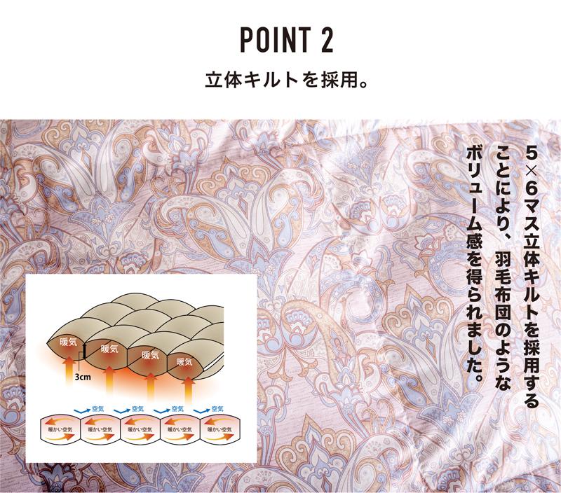 ポイント2 立体キルトを採用。