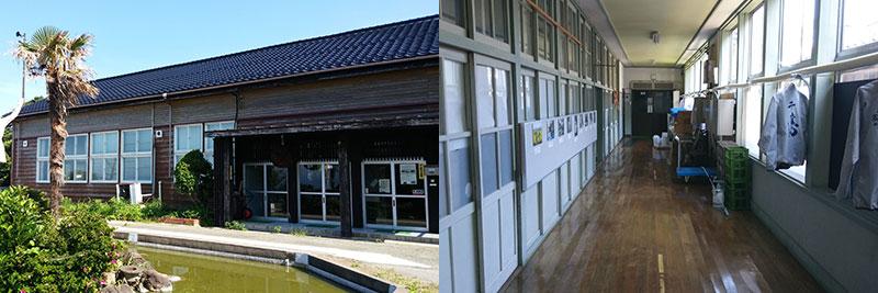 学校蔵は、尾畑酒造が平成26年、廃校になった小学校の木造校舎を酒造場に再生。