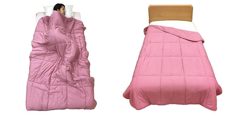 創業70年の寝具メーカー、ロマンス小杉が、柔らかな肌触りを求めて開発した肌掛けふとん。