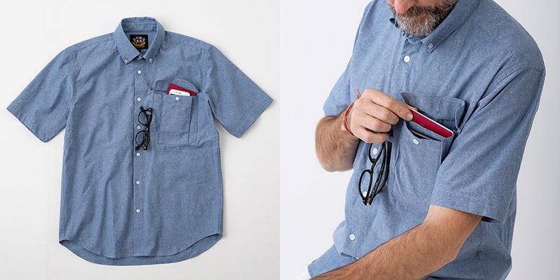 グレンフィールド ヘリンボーンクラブ シャンブレー スマホ対応ポケット 半袖シャツ ブルー