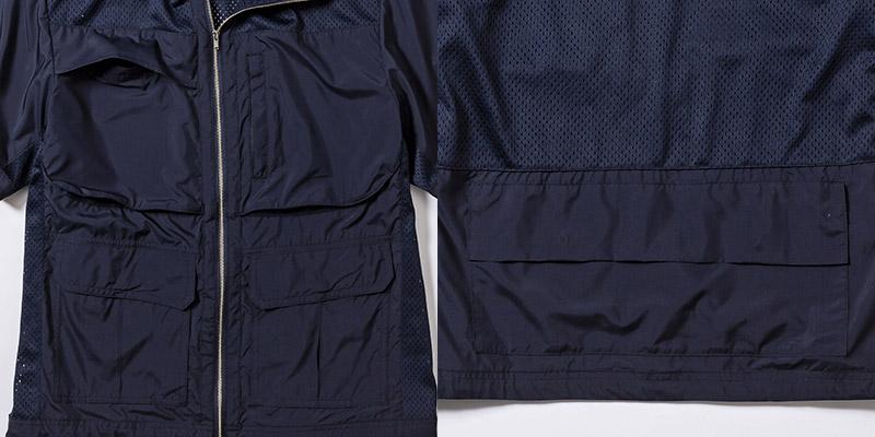 グレンフィールド ヘリンボーンクラブ 多機能メッシュ パッカブル半袖シャツジャケット