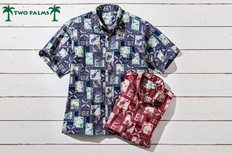 グレンフィールド トゥーパームズ アメリカ製ハワイアンシャツ ネイビー