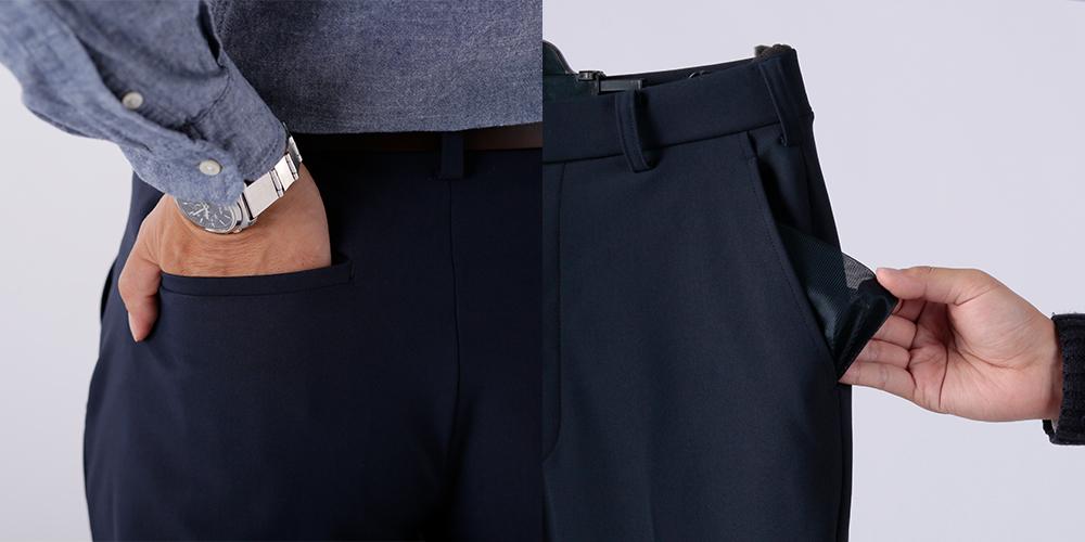 後ろポケットはゴルフのスコアカードも入る大きさです。