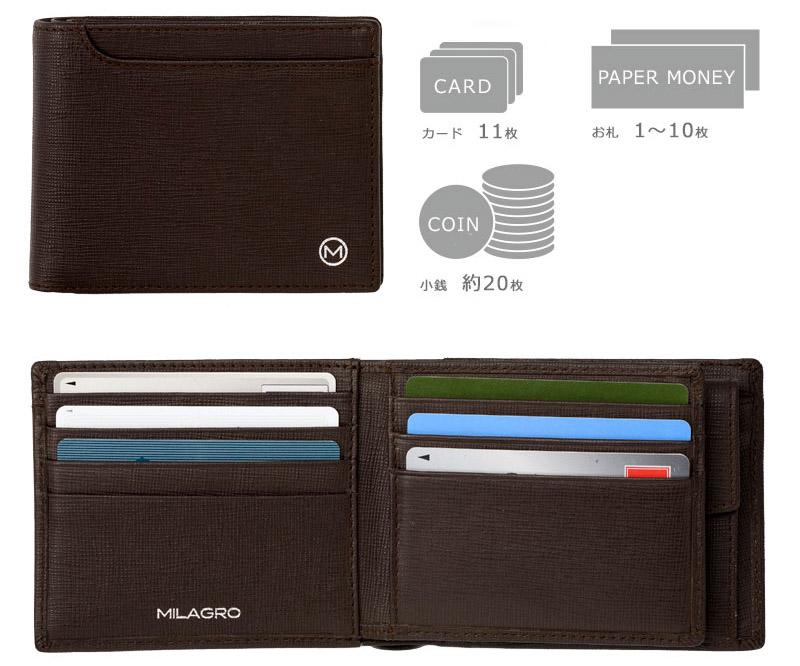 ビスポーク ミラグロ サフィアーノレザー ベラ付き2つ折り財布