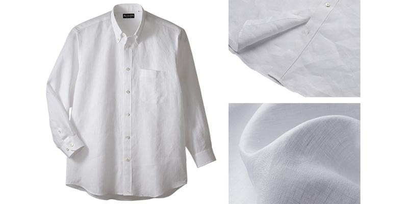 今村 逸品倶楽部 本麻ボタンダウンシャツ