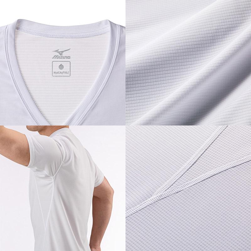 ミズノ ハイドロ銀チタン Vネック半袖シャツ