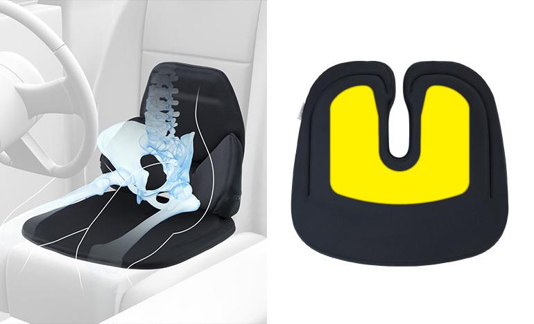 左右から腰を包み、身体を安定させるランバークッション