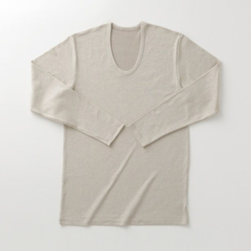 加茂繊維 BSファイン 着る岩盤浴 メンズ長袖U首シャツ
