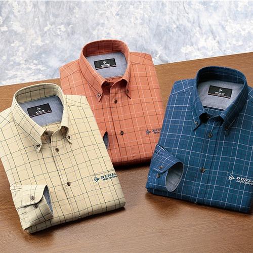 ダンロップ・モータースポーツ 上品チェック柄カジュアルシャツ 3色組