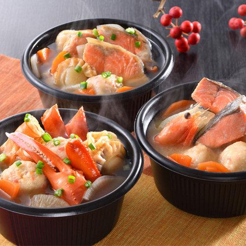 小樽海洋水産 小樽の小鍋セット 1セット:6個(蟹鍋、石狩鍋、うしお汁 各2個)