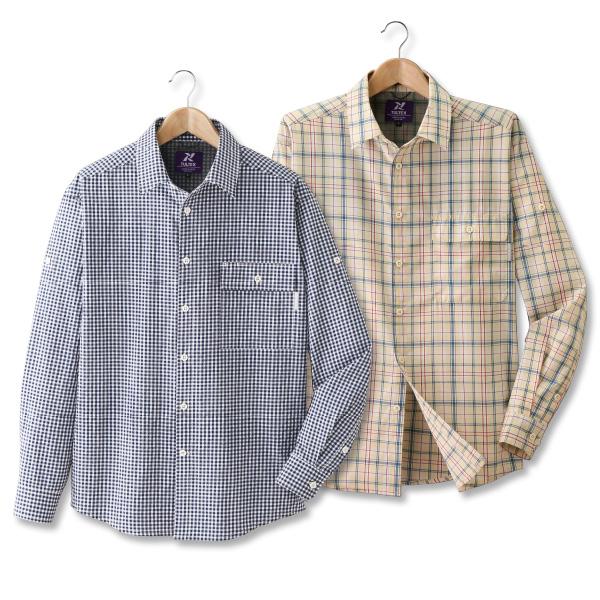 【アウトレット】 フレンドリー タルテックス 風が通るロールアップシャツ2色組 957522